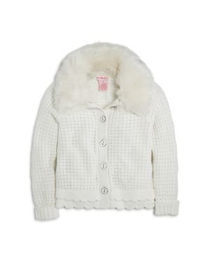 Design History Girls' Cardigan with Faux-Fur Collar - Little Kid