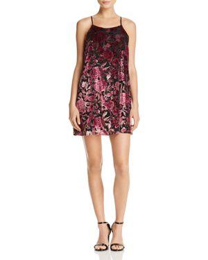 Aqua Rose Print Velvet Dress - 100% Exclusive