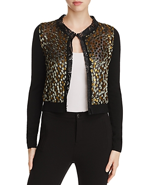 Elie Tahari Alena Mixed Media Dot Cardigan