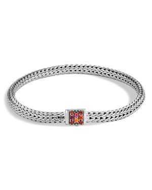 John Hardy Sterling Silver Classic Chain Extra Small Bracelet with Garnet