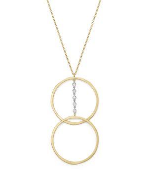 Meira T 14K White & Yellow Gold Diamond Dual Open Circle Pendant Necklace, 18