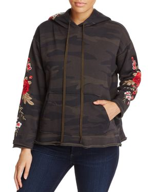 Johnny Was Los Angeles Meri Floral Embroidered Camo Print Hoodie