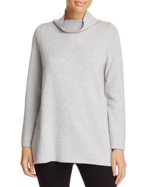 Eileen Fisher Petites Reversible Funnel Neck Tunic Sweater