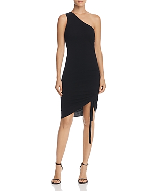 T by Alexander Wang One-Shoulder Ruched Wool Dress