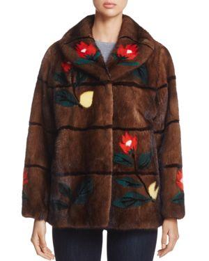 Maximilian Furs Floral Intarsia Kopenhagen Mink Fur Coat - 100% Exclusive