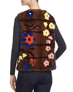 Maximilian Furs - Floral Intarsia Kopenhagen Mink Fur Vest - 100% Exclusive