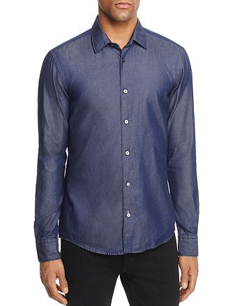 BOSS Hugo Boss - Reid Long Sleeve Twill Indigo Button-Down Shirt