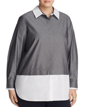 Foxcroft Plus Giselle Color Block Button Down Tunic