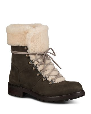 8851b97a0370 UGG® Women s Fraser Nubuck Leather   Sheepskin Lace Up Booties ...