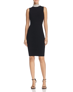Milly Embellished-Collar Sheath Dress