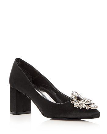 Caparros - Women's Jeanette Embellished Satin Block Heel Pumps