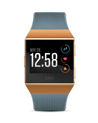 FITBIT Unisex Ionic Slate Blue Elastomer Strap Smart Watch 35X32Mm in Burnt Orange
