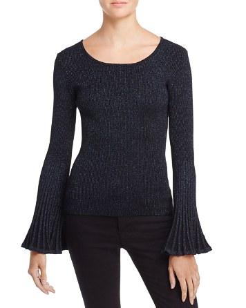 $MILLY Metallic Flare-Sleeve Sweater - Bloomingdale's