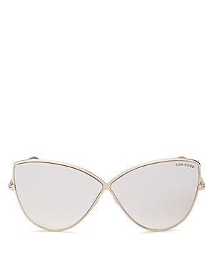 Tom Ford Elise Mirrored Oversized Cat Eye Sunglasses, 65mm