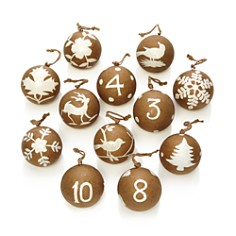 Aman Imports 12 Days of Christmas Paper Maché Ball Ornaments - Bloomingdale's_0