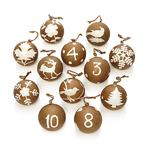Aman Imports 12 Days of Christmas Paper Mache Ball Ornaments