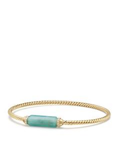 David Yurman - Barrels Bracelet with Diamonds & Amazonite in 18K Gold