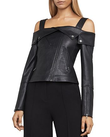 BCBGMAXAZRIA - Clyde Cold-Shoulder Faux-Leather Moto Jacket