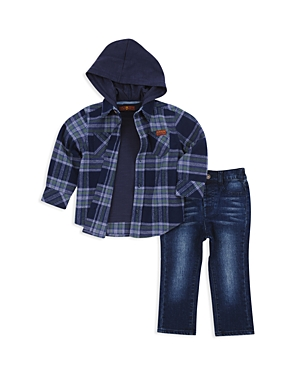 7 For All Mankind Boys' Hooded Flannel Shirt, Tee & Jeans Set - Little Kid
