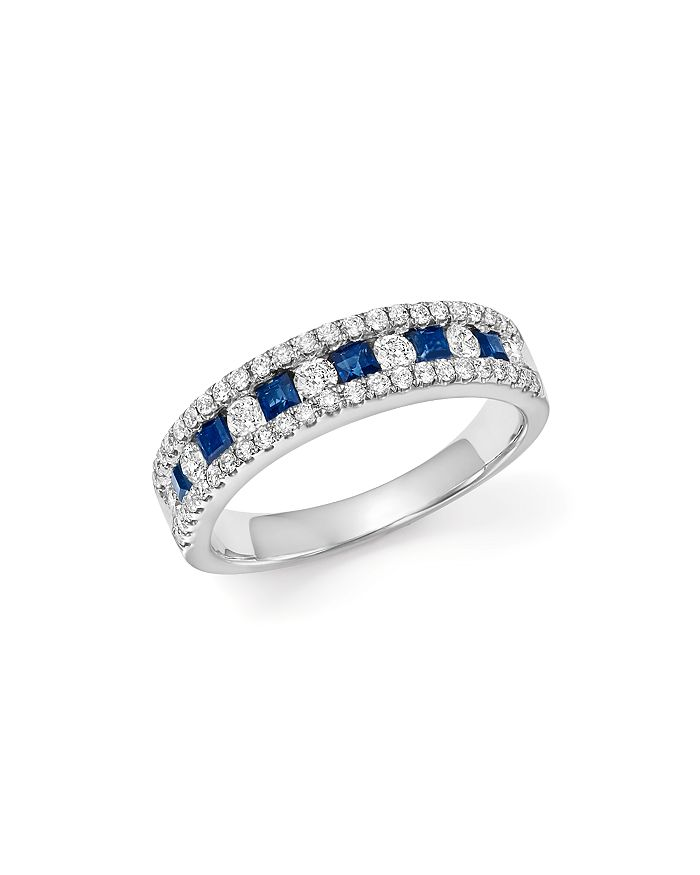 Bloomingdale's - Diamond & Blue Sapphire Band Ring in 14K White Gold - 100% Exclusive