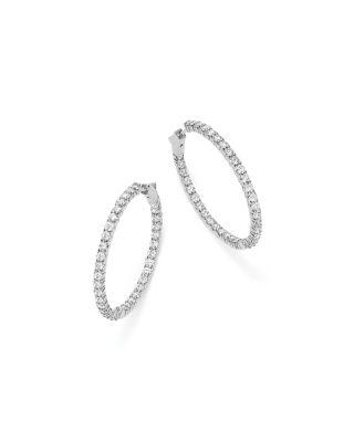 Bloomingdale's DIAMOND INSIDE OUT HOOP EARRINGS IN 14K WHITE GOLD, 5.0 CT. T.W. - 100% EXCLUSIVE