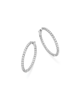 Bloomingdale's - Diamond Inside Out Hoop Earrings in 14K White Gold, 5.0 ct. t.w. - 100% Exclusive