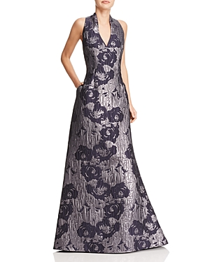 Aidan Mattox Metallic Floral Print Gown