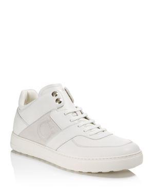 Salvatore Ferragamo Leather Mid Top Sneakers