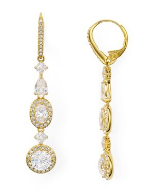 Nadri Linear Cubic Zirconia Leverback Earrings