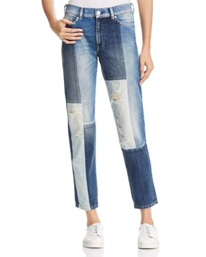 7 For All Mankind High-Rise Straight-Leg Jeans in Indigo Patches 2728800