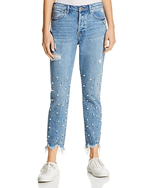 Pistola Nico Faux Pearl Embellished Jeans in La Lux - 100% Exclusive