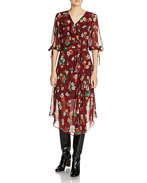Maje Reselia Ruffled Floral Midi Dress