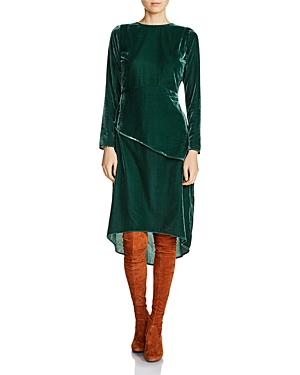 Maje Remanio Waist-Overlay Velvet Midi Dress