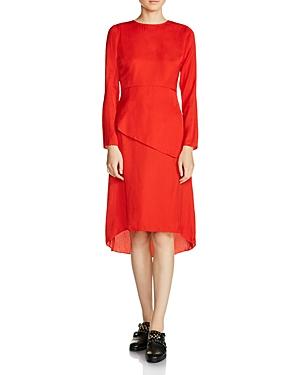 Maje Remania Waist-Overlay Crepe Midi Dress