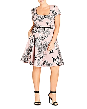 City Chic Birdy Flock Belted Dress