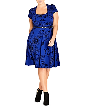 New City Chic Birdy Flock Belted Dress, Pool