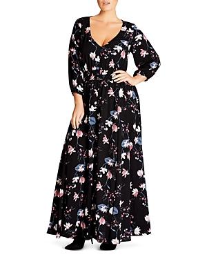 City Chic Sitting Room Floral Print Maxi Dress