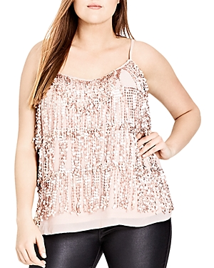 City Chic Sequin Fringe Top