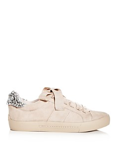 Joie - Women's Darena Embellished Suede Lace Up Sneakers