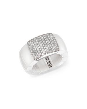 Roberto Demeglio 18K White Gold & White Ceramic Domino Stretch Ring with Diamonds