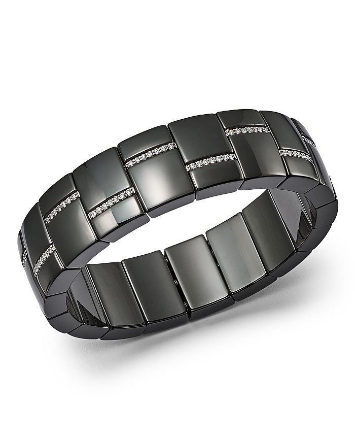 Roberto Demeglio - 18K White Gold & Black Ceramic Domino Luce Rectangular Stretch Bracelet with Diamonds