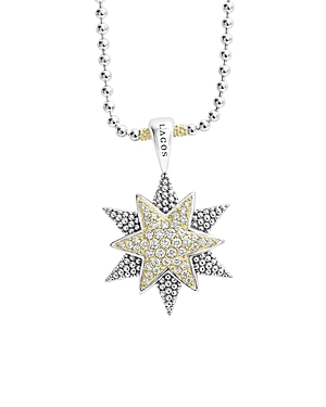 Lagos 18K Gold & Sterling Silver North Star Diamond Large Pendant Necklace, 16
