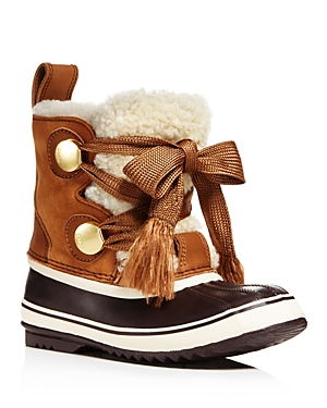 Sorel x Chloe Women's Waterproof Suede & Shearling Lace Up Cold-Weather Booties