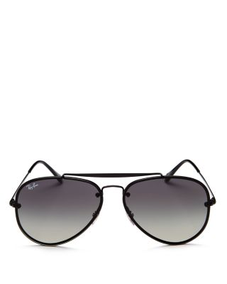 61MM GRADIENT LENS AVIATOR SUNGLASSES - SHINY BLACK