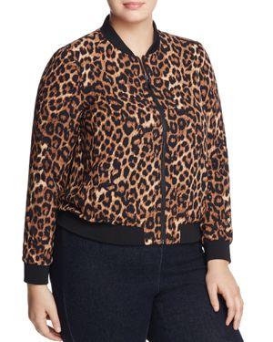 Cupio Plus Leopard-Print Bomber Jacket