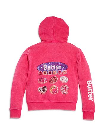 Butter - Girls' I Love Donuts Zip-Up Hoodie, Little Kid - 100% Exclusive