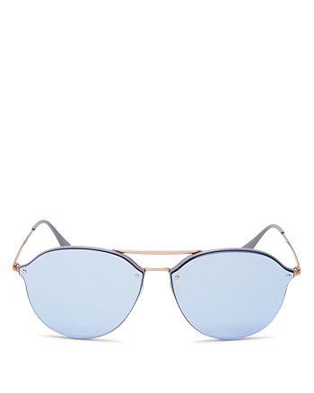 Ray-Ban - Unisex Mirrored Brow Bar Rimless Round Sunglasses, 62mm