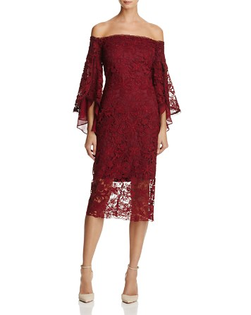 $Laundry by Shelli Segal Off-the-Shoulder Lace Dress - Bloomingdale's