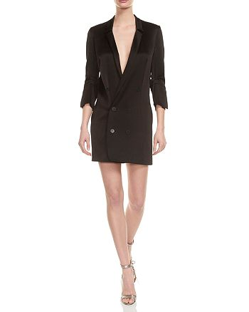 86cca405b353 HALSTON HERITAGE Double-Breasted Satin Shirt Dress | Bloomingdale's