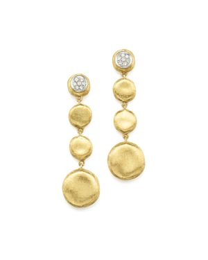 Marco Bicego Pave Diamond Jaipur Drop Earrings in 18K White & Yellow Gold